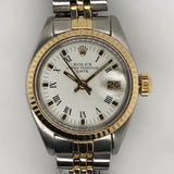 Rolex Vintage Date Lady 26mm White Roman Dial Yellow Gold and Steel Jubilee Band 6917