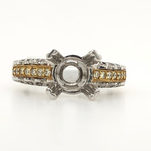 18kt White & Yellow Gold Diamond Milgree Engagement Ring
