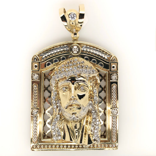 10kt Yellow Gold Large Framed Jesus Head Mens Pendant