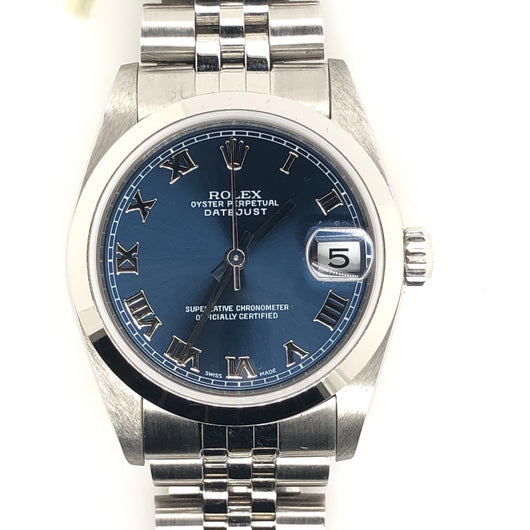Rolex Datejust 31mm Blue Roman Numeral Dial Steel Jubilee Band 78240