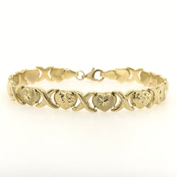 10kt Yellow Gold Heart Diamond Cut 7mm Tennis Bracelet
