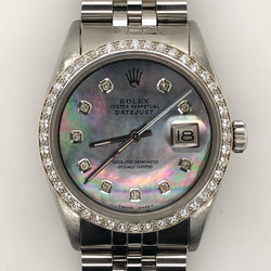 Rolex Vintage Datejust 36mm Tahitian Mother of Pearl Diamond Dial Jubilee Steel Band