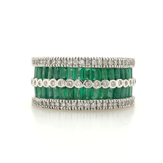 14kt White Gold Emerald & Diamond Wide Band Womens Ring