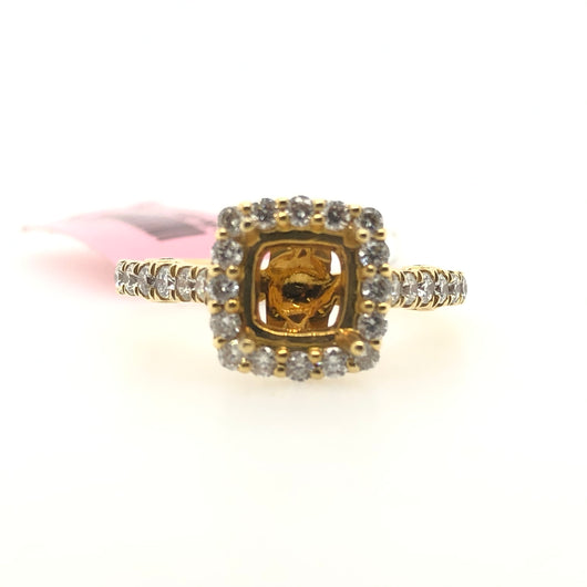 18kt Yellow Gold Diamond Square Halo Engagement Ring