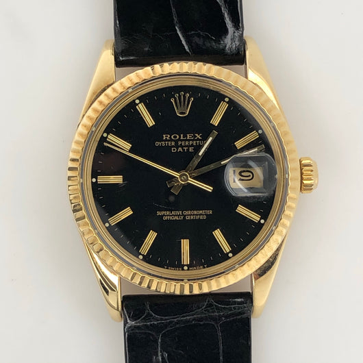 Rolex Vintage Date Solid Gold Case Leather Band