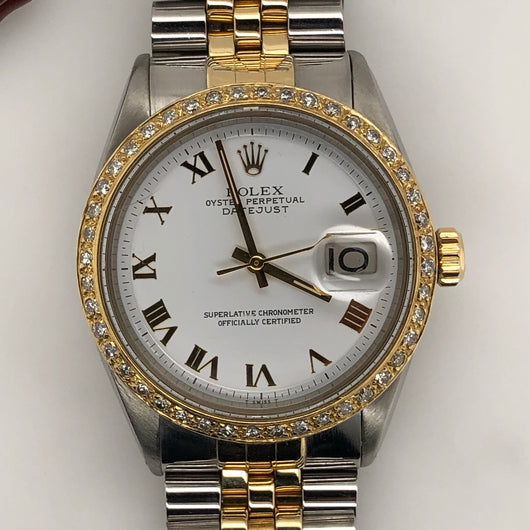 Rolex Vintage Datejust 36mm White Roman Dial Diamond Bezel Jubilee Band