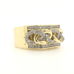 10kt Yellow Gold Diamond Cuban In Block Style