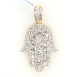 14kt Yellow Gold Hamsa Pendant 1.20ct