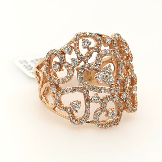 14kt Rose Gold Diamond Heart Free Style Womens Ring