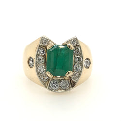 14kt Yellow Gold Emerald Diamond Horse Shoe Mens Ring