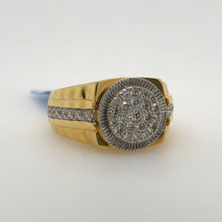 14Kt Yellow Gold 1.15ct Diamond Cluster Mens Ring