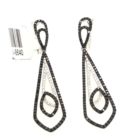 14kt White Gold Diamond & Black Diamond Narrow Chandelier Earrings 1.20ct