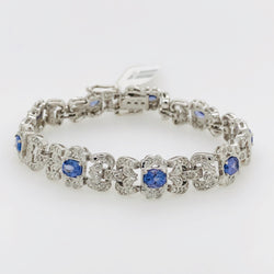 14kt White Gold 5.0ct Tanzanite Diamond Tennis Bracelet