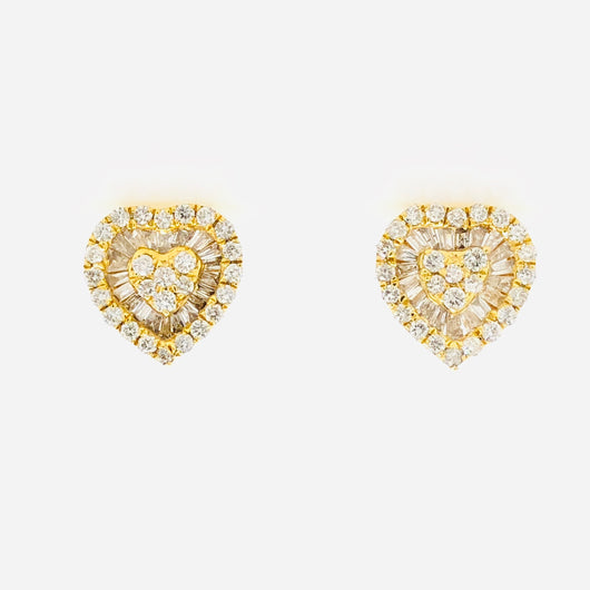 10kt Yellow Gold Diamond Heart Studs with Baguettes