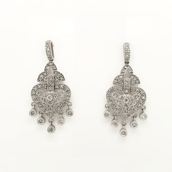 14kt White Gold Diamond Filigree Chandelier Earrings .50ct