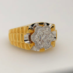14Kt Yellow Gold 1.15ct Diamond Flower Mens Ring