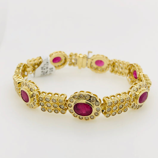 14kt Yellow Gold Ruby & Diamond Tennis Bracelet 3.5ct
