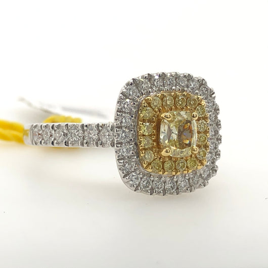 18kt White & Yellow Gold Cushion Cut Yellow Diamond Womens Ring