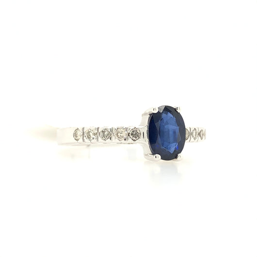 14kt White Gold Oval Sapphire & Diamond Womens Ring