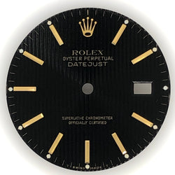 Rolex DateJust Black Tapestry Dial with Gold Markers
