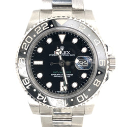 Rolex GMT Master II Black Dial Steel Oyster Band
