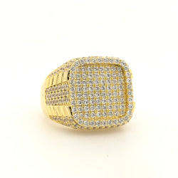 .925 18kt Yellow Gold Plate Cz Mens Ring