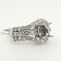 14kt White Gold Diamond Round  Wide Band Engagement Ring