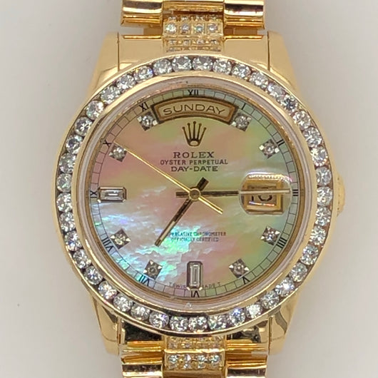 Rolex President Daydate Yellow Gold Mother Of Pearl Diamond Dial Diamond Band & Bezel