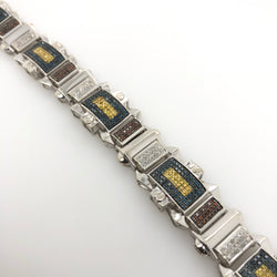 14kt White Gold Blue Yellow Diamond Mens Bracelet 3.0ct