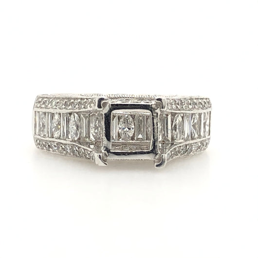 14kt White Gold Diamond Wide Band Princess Setting Pave Engagement Ring 1.39ct