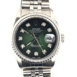 Rolex Vintage Datejust 36mm Custom Green Diamond Dial Steel Jubilee Band
