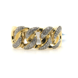 10kt Yellow Gold Miami Cuban Link Diamond Mens Ring SC4366Y .50 ct