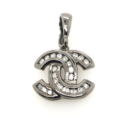 14kt White Gold Diamond CC Black Rhodium Plated Pendant
