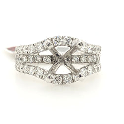 14kt White Gold Round Diamond Wide Band Engagement Ring