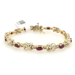 14kt White & Yellow Gold Ruby & Diamond Tennis Bracelet