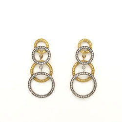 14kt White and Yellow Gold Spiral Chandelier Earrings