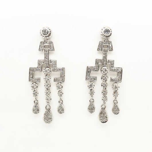 14kt White Gold Diamond Chandelier Earrings .97ct