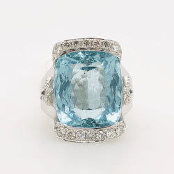 14kt White Gold 12.95 ct Aquamarine with Diamonds Cocktail Ring