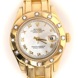 Rolex 18kt Gold  Datejust Lady Pearlmaster 34 Mother of Pearl Dial Diamond Bezel