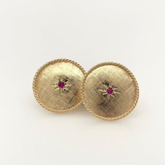 14kt Yellow Gold Ruby Cuff Links