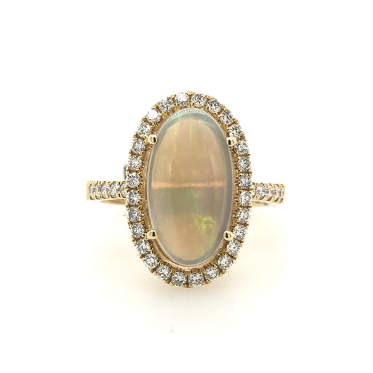 14kt Yellow Gold 2.30 Opal  Diamond .52ct Halo Womens Ring 113270