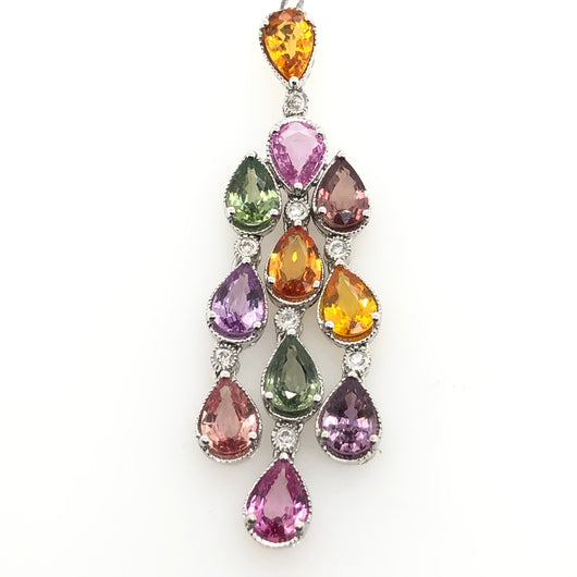 14kt White Gold Diamond & Multicolored Sapphire Pendant Pear Shape