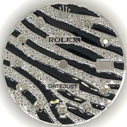 Rolex DateJust II Zebra Dial Black Enamel & Diamond Custom