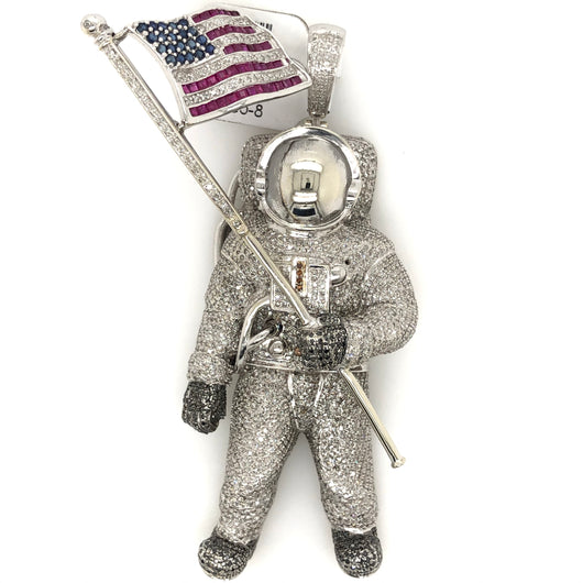 10kt & 14kt White Gold Diamond Astronaut Spaceman Pendant Sapphire USA Flag