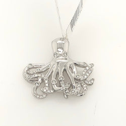 14kt White Gold Diamond Octopus Pendant