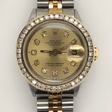 Rolex Vintage Datejust Lady 26mm Diamond Bezel/Dial Yellow Gold & Steel Jubilee Band 6519