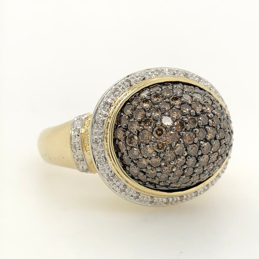 14kt Yellow Gold 2ct Chocolate Diamond Dome Nugget Accent Below Womens Ring