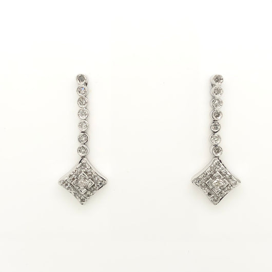 14kt White Gold Diamond Drop Chandelier Earrings .40ct