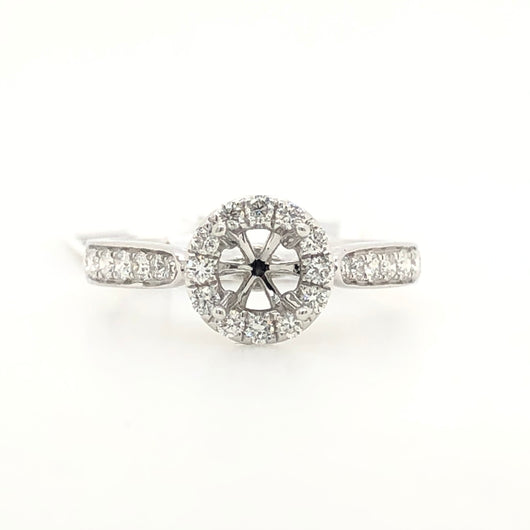 14kt White Gold Diamond Halo Simple Engagement Ring .50ct