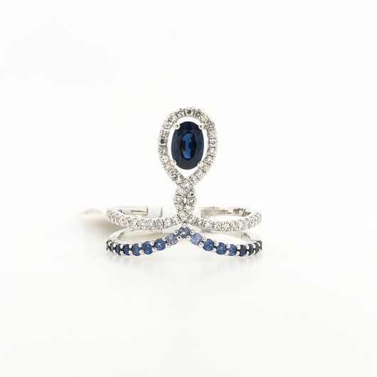 14kt White Gold Sapphire & Diamond Crown Ring